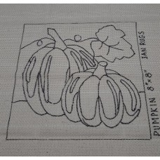 Rug Hooking Pattern on Monks Cloth - PUMPKIN