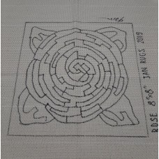 Rug Hooking Pattern on Monks Cloth - ROSE FLOWER