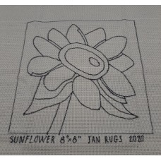 Rug Hooking Pattern on Monks Cloth - SUNFLOWER